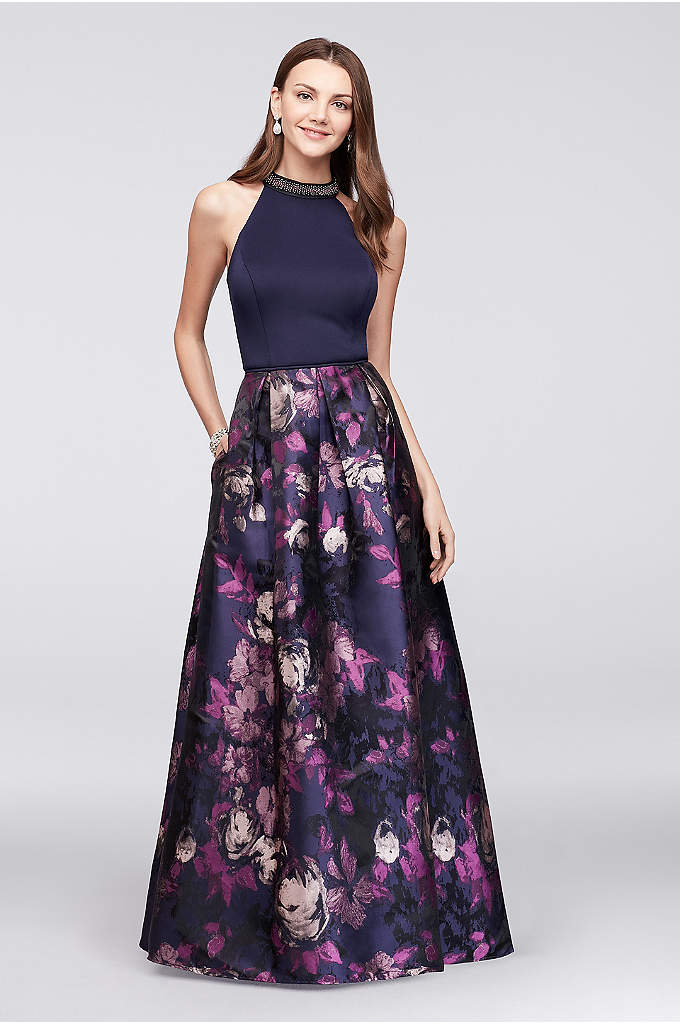 Beaded High-Neck Jersey and Jacquard Ball Gown - Pretty beading at the high neckline of this