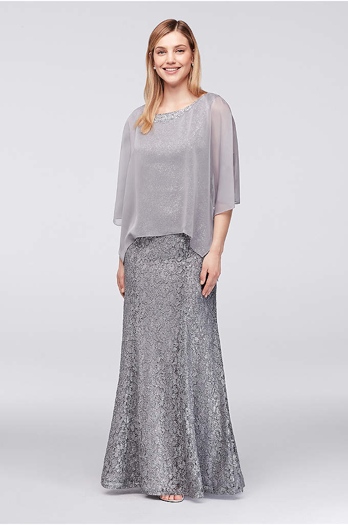 Glitter Lace Gown with Embellished Chiffon Capelet - This soft mermaid gown is topped with a