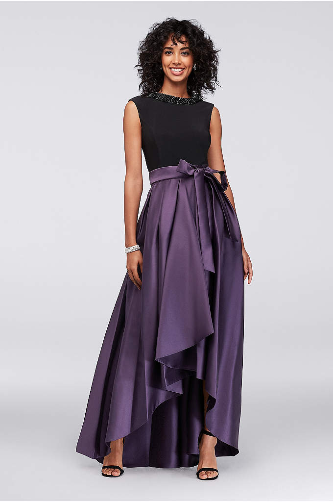 Draped-Back Jersey and Mikado Gown with Beading - A lovely dress for a big occasion, this