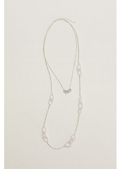Mesh and Pave Loop Necklace 38093EXDA