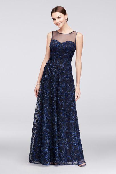 Illusion Bodice Soutache Ball Gown David S Bridal