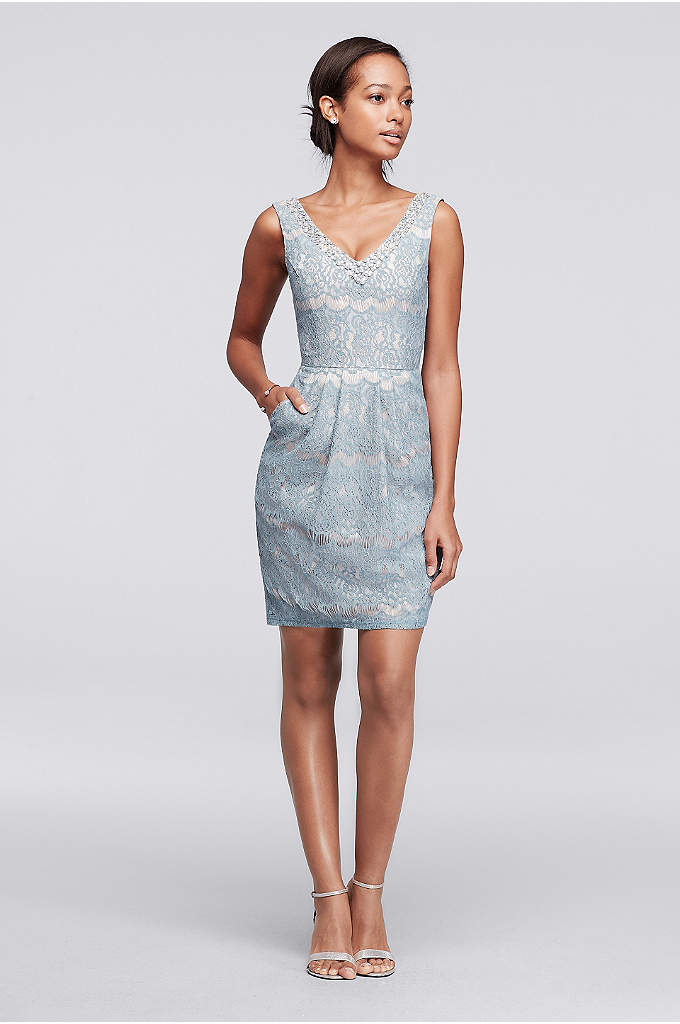 Short Lace Dress with Beaded V-Neck - This lace cocktail dress is as pretty as