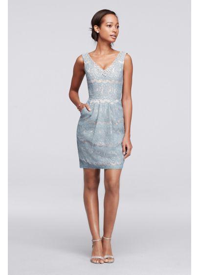 Short Lace Dress with Beaded V-Neck | David's Bridal