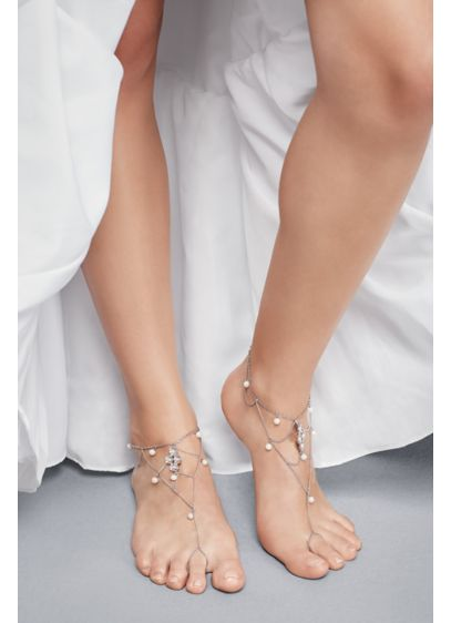 David's Bridal Grey (Pearl and Crystal Medallion Foot Jewelry)