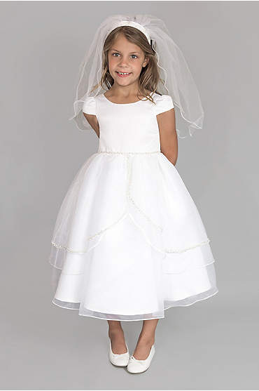 Satin and Tulle Cap Sleeve Communion Dress