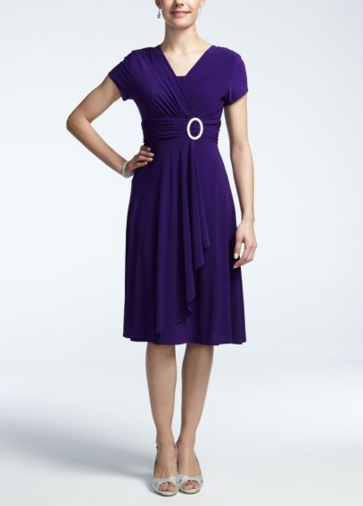 Short Sleeve Jersey Dress with Rhinestone Ring 3869
