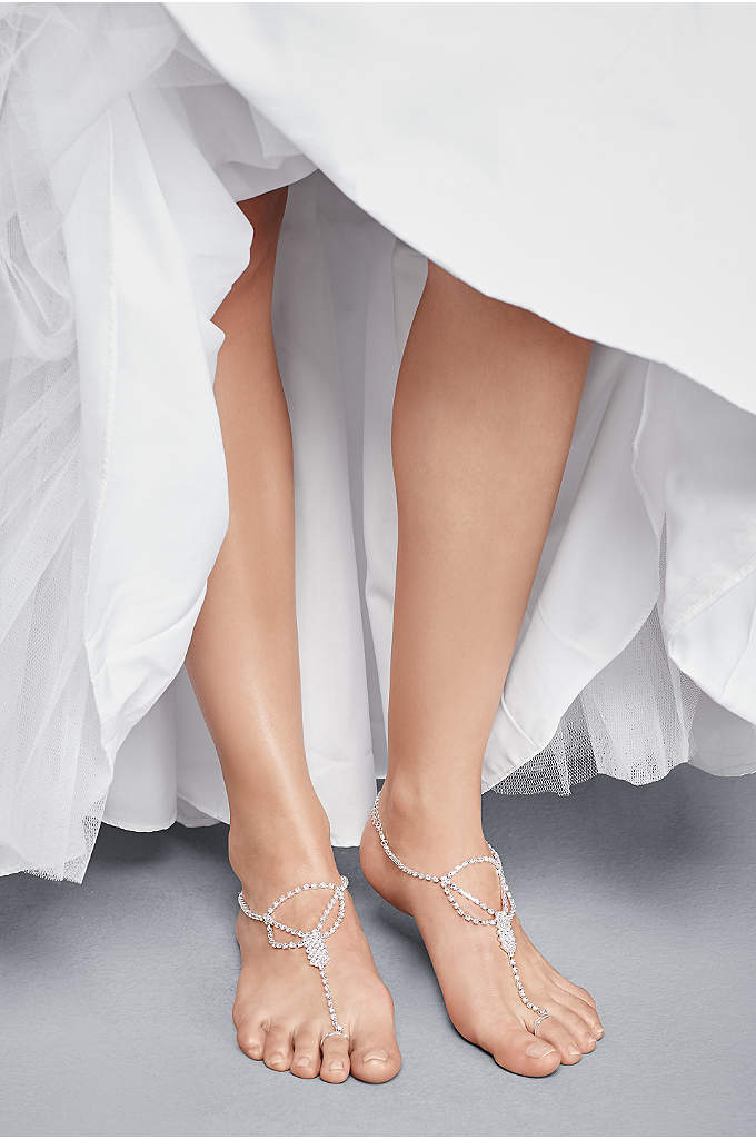 Simple Crystal Drape Foot Jewelry with Toe Ring - Adorn your feet for a beautiful accent to