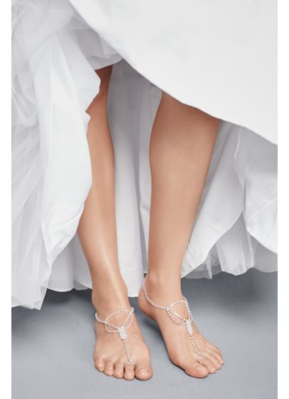 David's Bridal Grey (Simple Crystal Drape Foot Jewelry with Toe Ring)