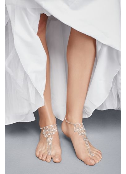 David's Bridal Grey (Crystal Chandelier Foot Jewelry with Toe Ring)