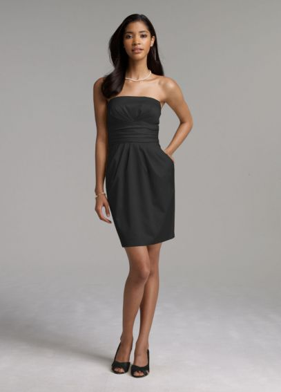 Short Strapless Cotton Sateen Dress 39261