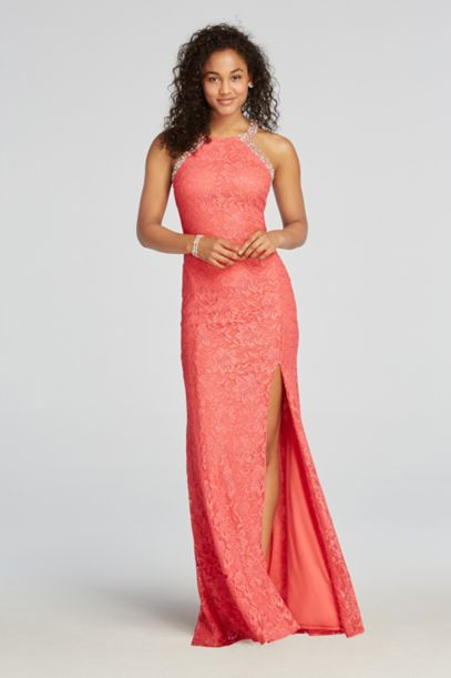 Halter Lace Prom Dress with Beaded Neckline | David's Bridal