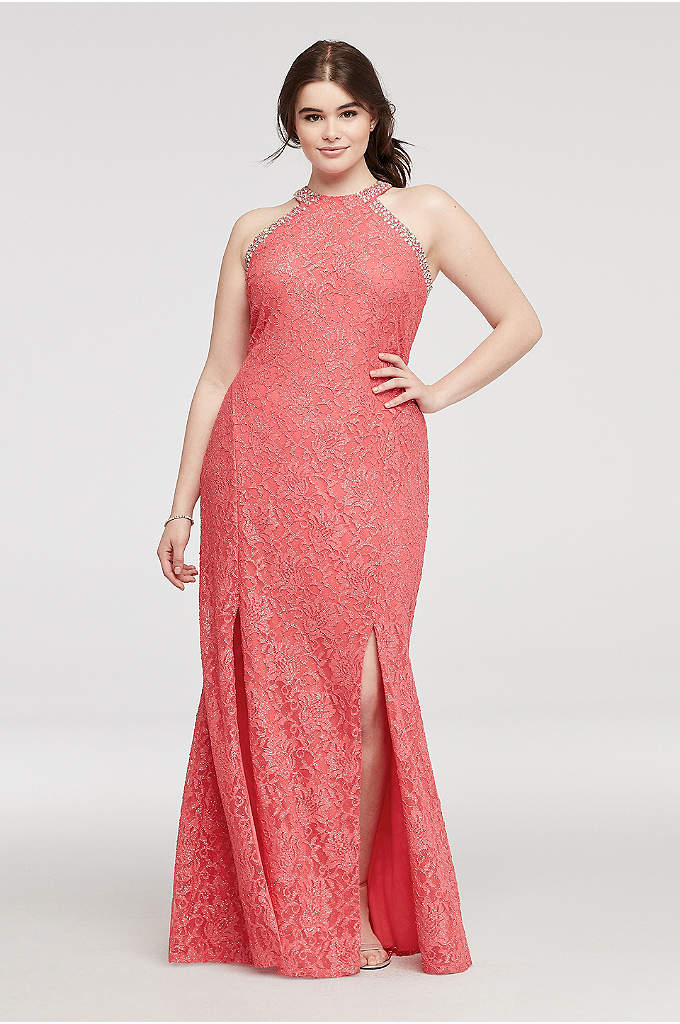Beaded Halter Lace Prom Dress with Slit Skirt