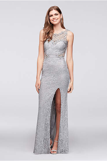 Glitter Lace Sheath Gown with Geometric Neckline