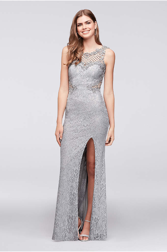 Glitter Lace Sheath Gown with Geometric Neckline - Crystal-topped geometric crochet creates a net-like detail at