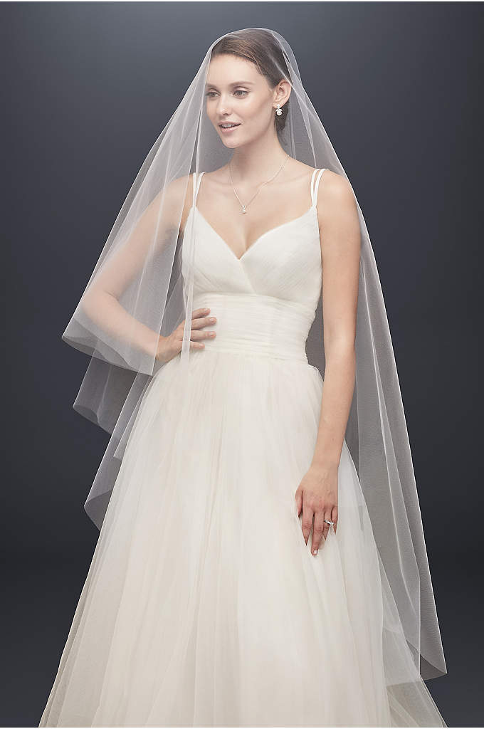 Two-Tier Circle-Cut Walking Veil - Stylishly simple, mid-length tulle veil is elegantly free