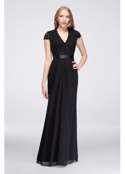 Long Chiffon Dress with Scalloped Lace Bodice 39J006
