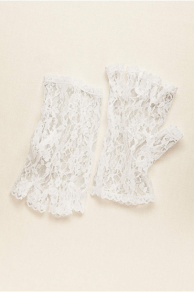 Greatlookz Half Finger Wrist Length Lace Gloves - Delicate and feminine, these floral lace half-finger wrist