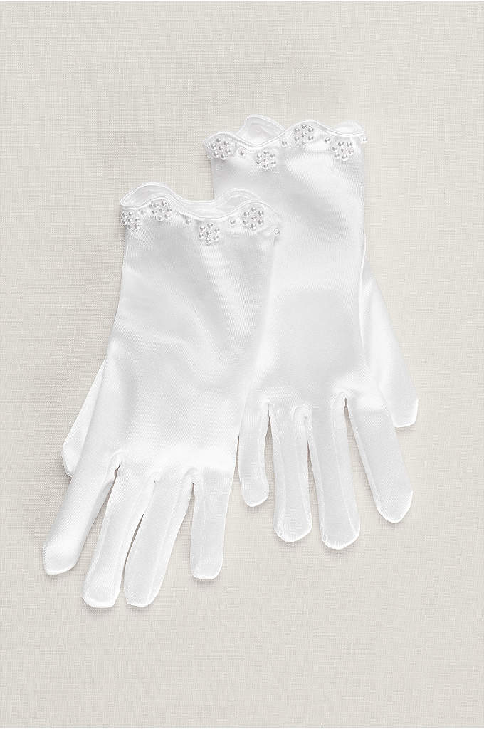 Ariel Girls Satin Beaded Scallop Gloves - These oh-so-soft flower girl gloves have a satiny