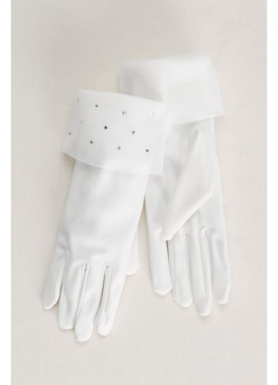Flower Girl Gloves with Crystal Organza Cuff - Wedding Accessories