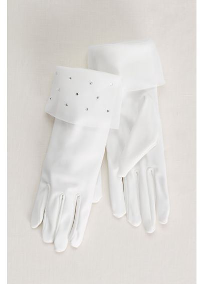 Flower Girl Gloves with Crystal Organza Cuff 3GLTTRSGMW