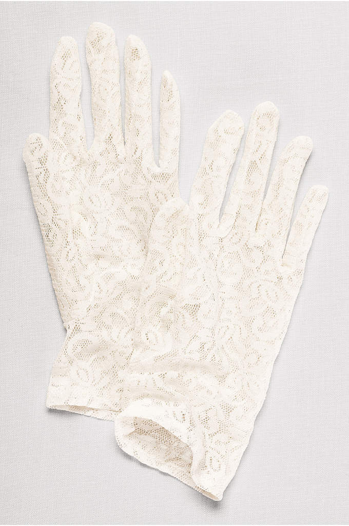 Stretch Lace Wrist Length Gloves - These stretch-lace gloves add a feminine finish to