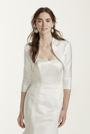 3/4 Sleeve Satin Jacket - Chic bridal coverage option. Available online and in