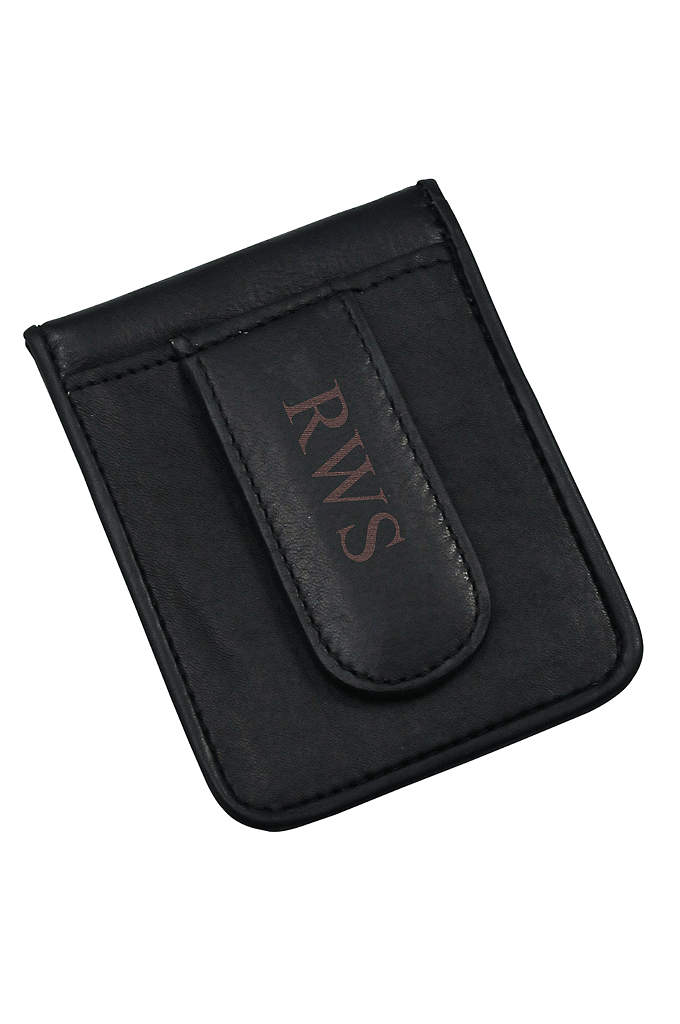 Personalized Black Genuine Leather MoneyClip - The Personalized Black Genuine Leather Money Clip, with