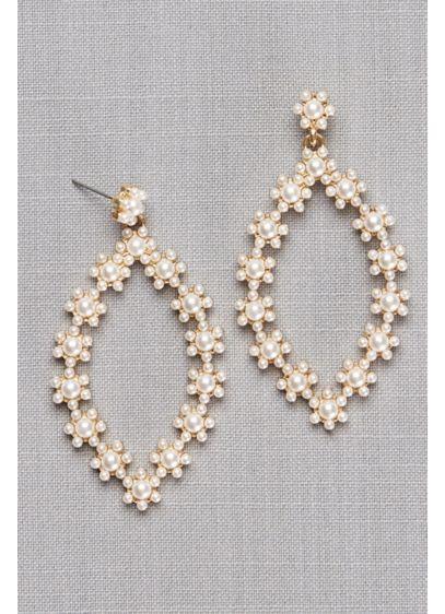 Daisy Pearl Teardrop Earrings - Wedding Accessories