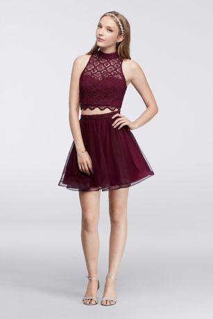 Wine colored crop top prom dress