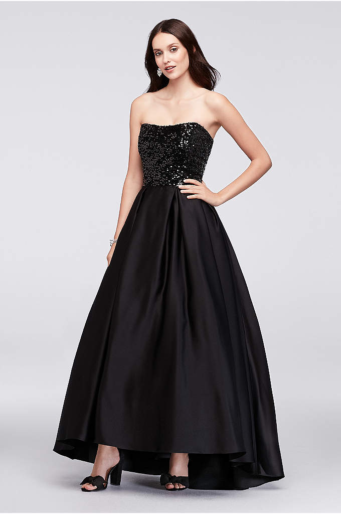 Sequined Satin Strapless Ball Gown - Formal with a glam twist, this subtly high-low