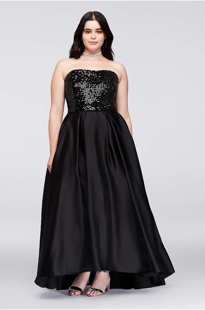Sequined Satin Strapless Plus Size Ball Gown - Formal with a glam twist, this subtly high-low