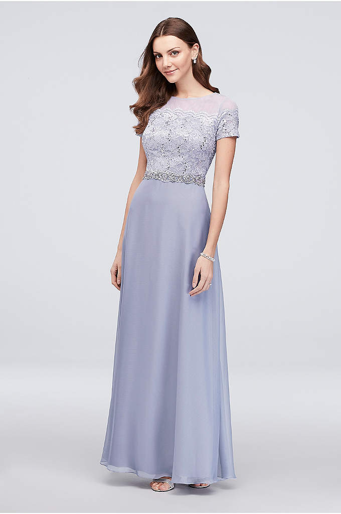 A-Line Lace Illusion Dress with Beaded Waist - Sequin-adorned lace shimmers beneath an illusion neckline on