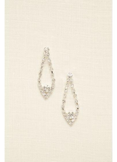 Open Tear Drop Rhinestone Earrings - Wedding Accessories