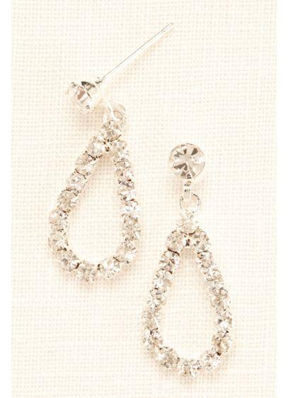 Mini Open Tear Drop Crystal Earrings - Wedding Accessories