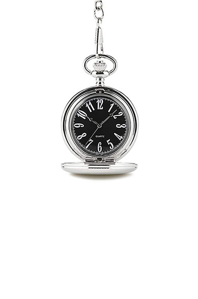 Personalized Classic Pocket Watch With Black Face - A throwback to classic men's accessories, this Personalized