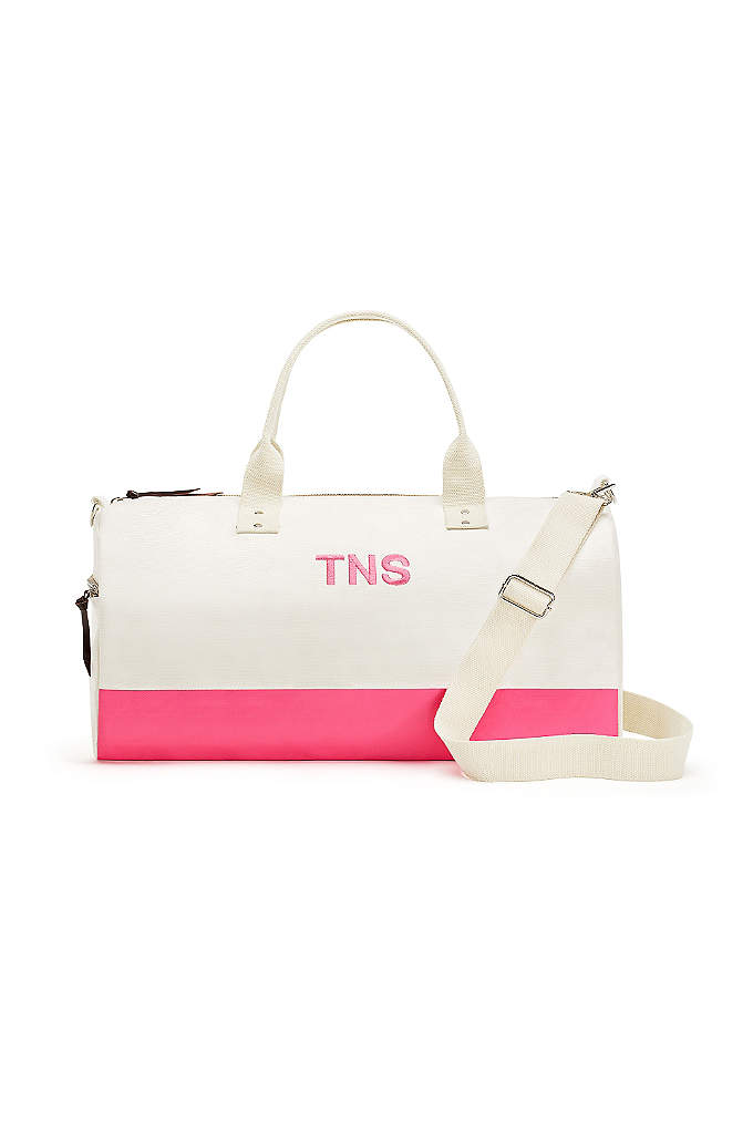 Personalized Off We Go Pink Canvas Weekend Bag - The Personalized Off We Go Pink Canvas Weekend