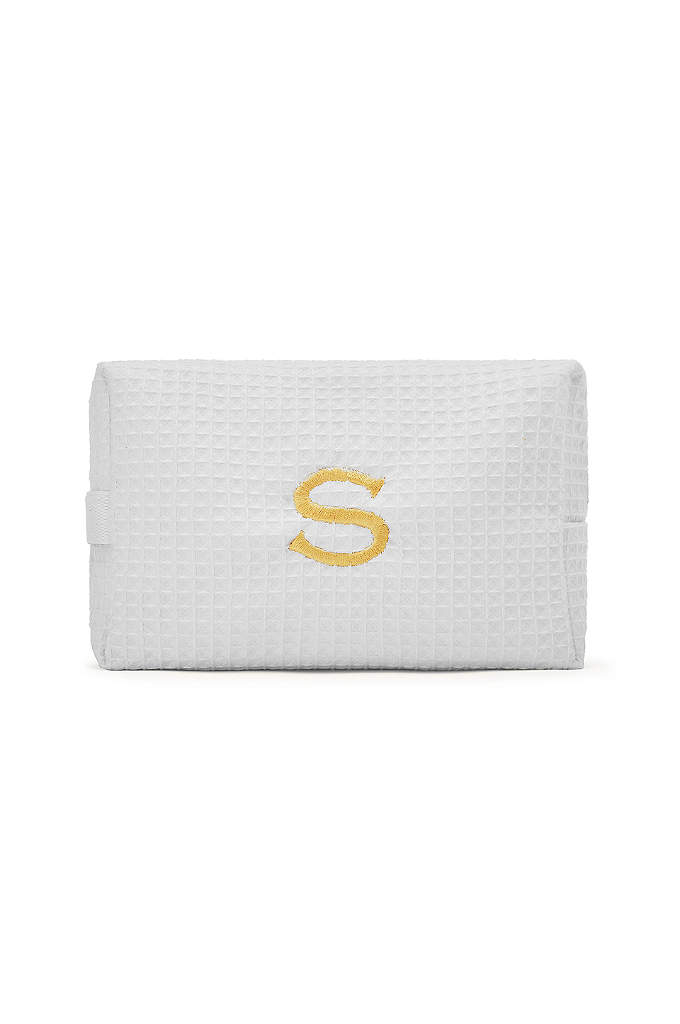 Personalized Large Cotton Waffle Cosmetic Bag - Our Personalized Large Cotton Waffle Cosmetic Bags keep