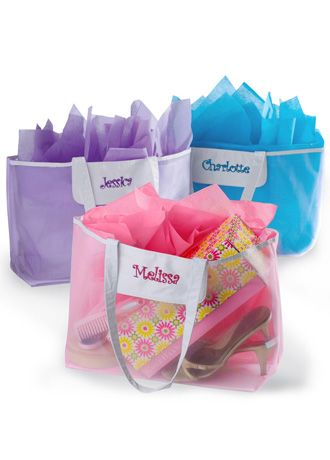 DB Exclusive Personalized White Mesh Tote - Give each of your bridesmaids a personalized tote