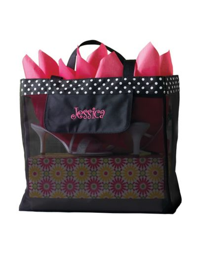 DB Exclusive Personalized Black Dot Mesh Tote - Wedding Gifts & Decorations