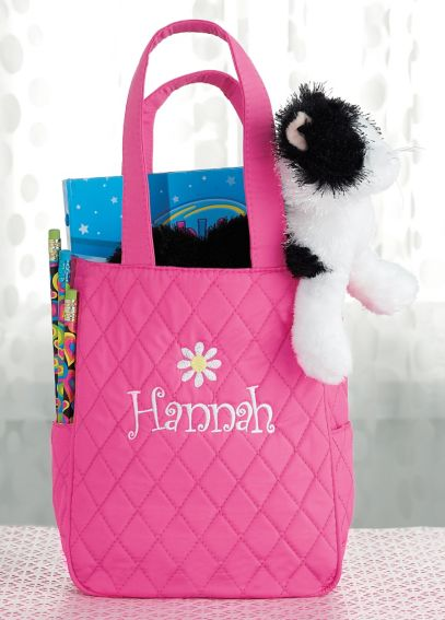 Exclusively Personalized Quilted Tote with Flower 4118-1143