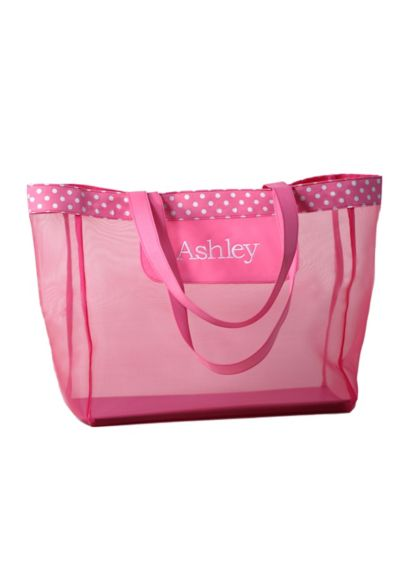DB Exc Personalized Pink Polka Dot Mesh Tote Bag - Wedding Gifts & Decorations