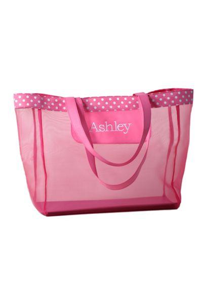(DB Exc Personalized Pink Polka Dot Mesh Tote Bag)