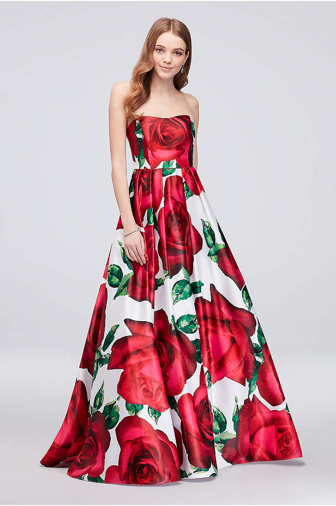 Floral Print Strapless Lace-Up Satin Ball Gown - An oversized floral print adds a modern pop