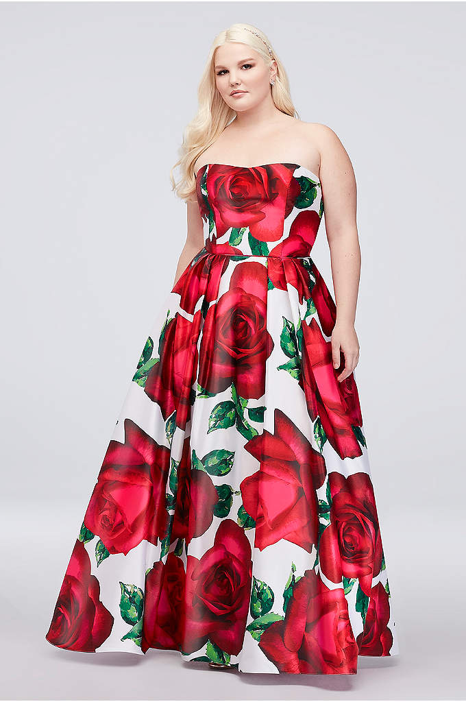 Floral Print Strapless Plus Size Satin Ball Gown - An oversized floral print adds a modern pop