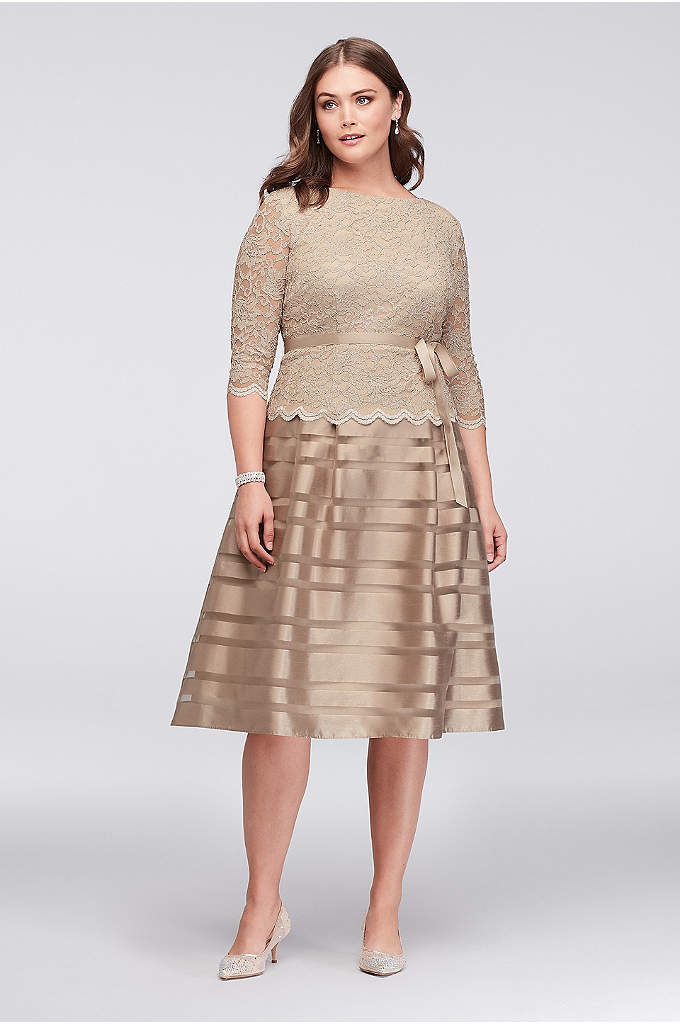 Lace and Striped Organza Plus Size Midi Dress - This fit-and-flare party dress has festive detail galore.