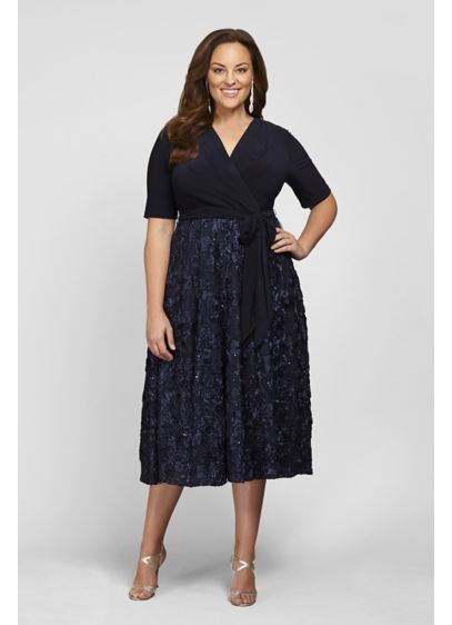 Tea Length Fit and Flare Elbow Sleeves Cocktail and Party Dress - Alex Evenings