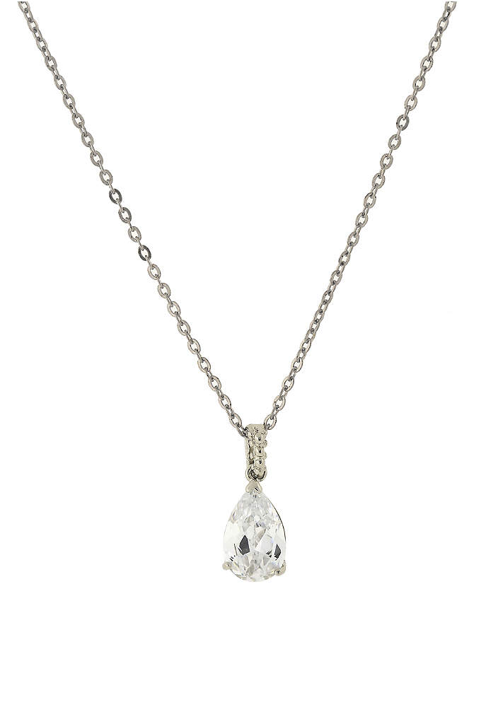 Cubic Zirconia Teardrop Pendant Necklace - This lovely teardrop-shaped cubic zirconia pendant necklace works