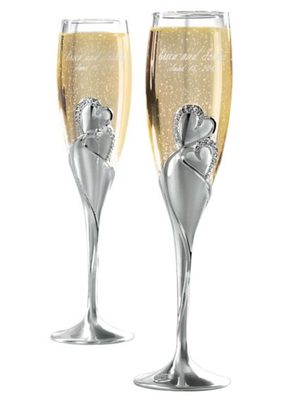 Personalized Twin Hearts Toasting Flutes  41451606