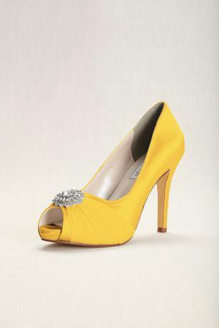 Dyeable Chiffon and Satin Peep-Toe Heels