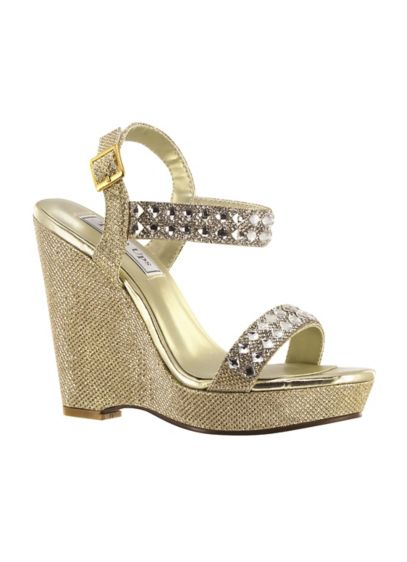 Touch Ups Grey (High Platform Wedges with Crystal Embellishments)